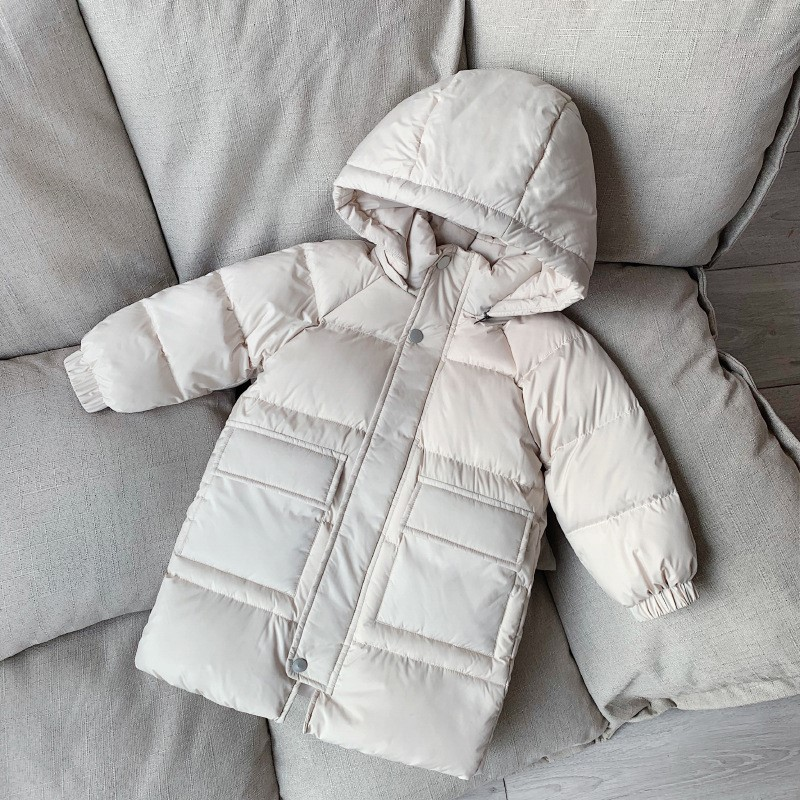 Childrens detachable hooded down jacket