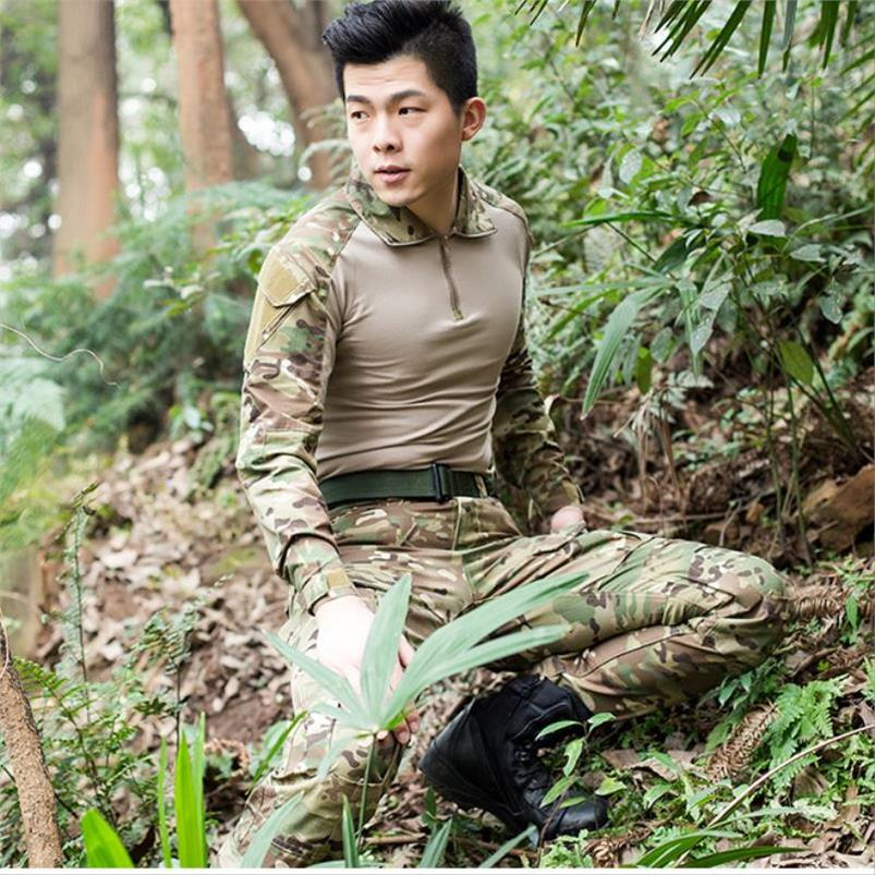 Special soldier long sleeve boa grain frog suit summer clothing men and women outdoor reality CS training clothing army fan field equipment
