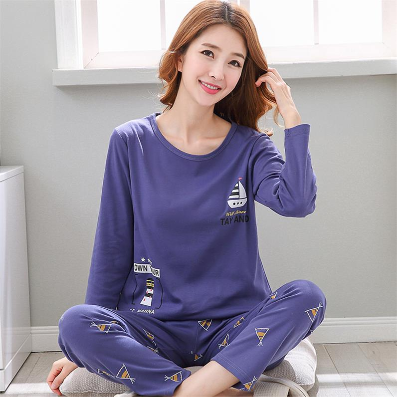 Pajamas women spring and autumn winter women pure cotton long sleeve lovely two piece set home clothes female summer students Korean version fresh