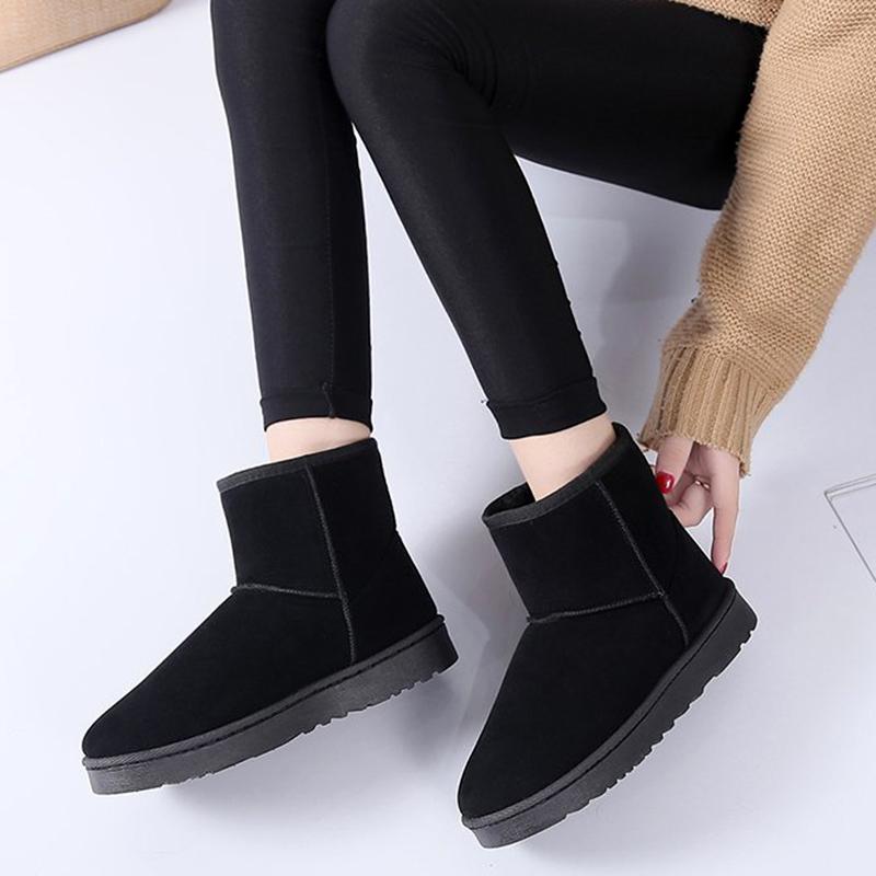 户外雪地靴女皮毛一体2020新款平底短筒面包鞋防滑加绒保暖棉鞋冬