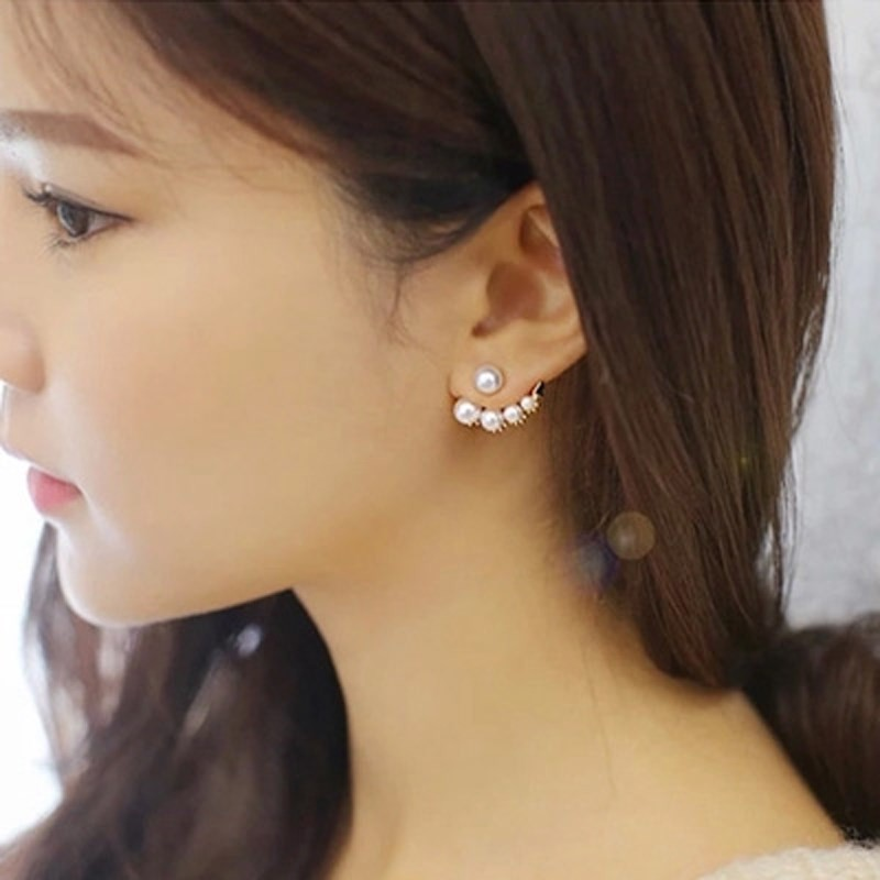 Japan buy YL Korean jewelry, steal hook, water drill, pearl asymmetric earrings, simple earrings, earrings and Earrings