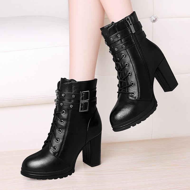 高跟鞋女粗跟2019新款秋冬季鞋子韩版百搭女鞋防水台短靴女士皮鞋
