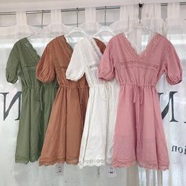 ANAN安安女装裙子20夏季新款港味复古镂空蕾丝拼接V领系带连衣裙图片