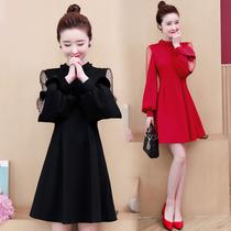 2020年春季新款大码女装胖mm名媛显瘦过年红色连衣裙女洋气秋冬