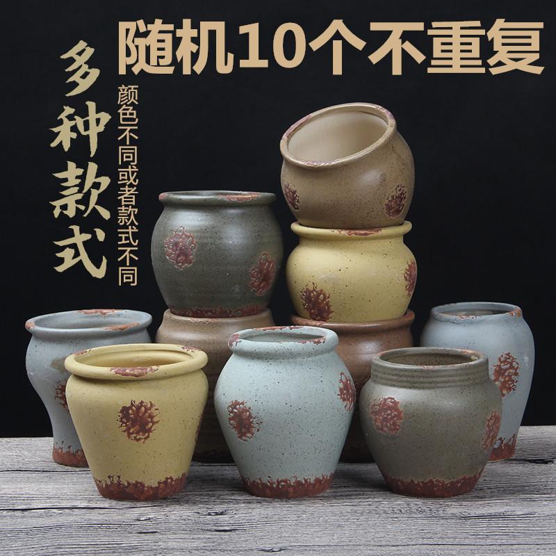 Суккулентный керамический древний цилиндр воздухопроницаемый Маленький старый цветочный горшок винтаж Китайский стиль классический Цветочный горшок с зеленым растительным маслом