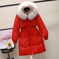 2020新款韩版羽绒棉服女中长款小个子加厚修身收腰过膝棉衣大毛领