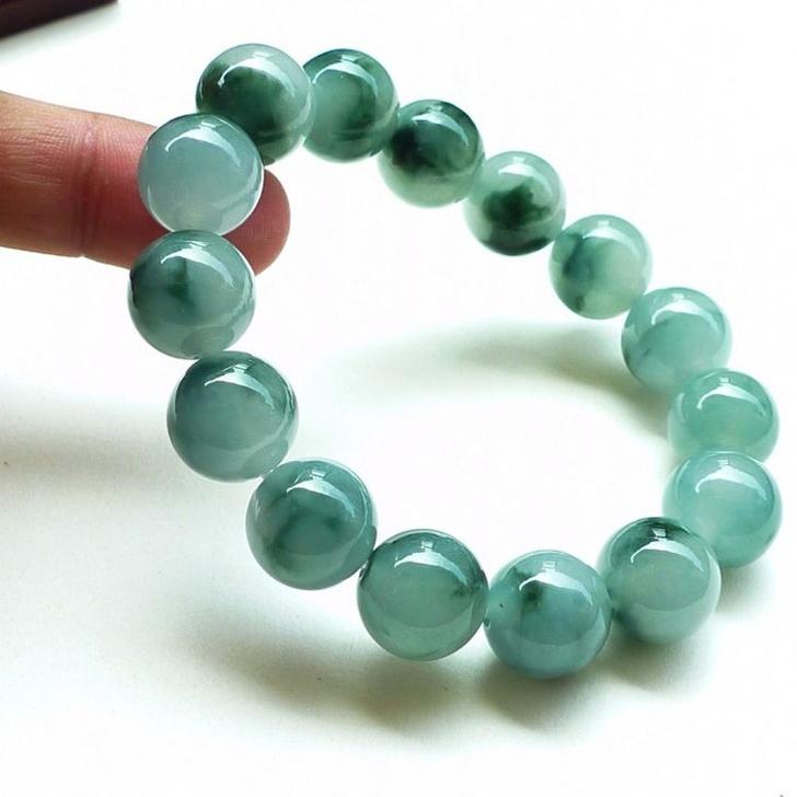 Jadeite natural ice moistening jade bracelet a-kind jade stone Buddha bead bracelet original stone bracelet mens and womens jewelry