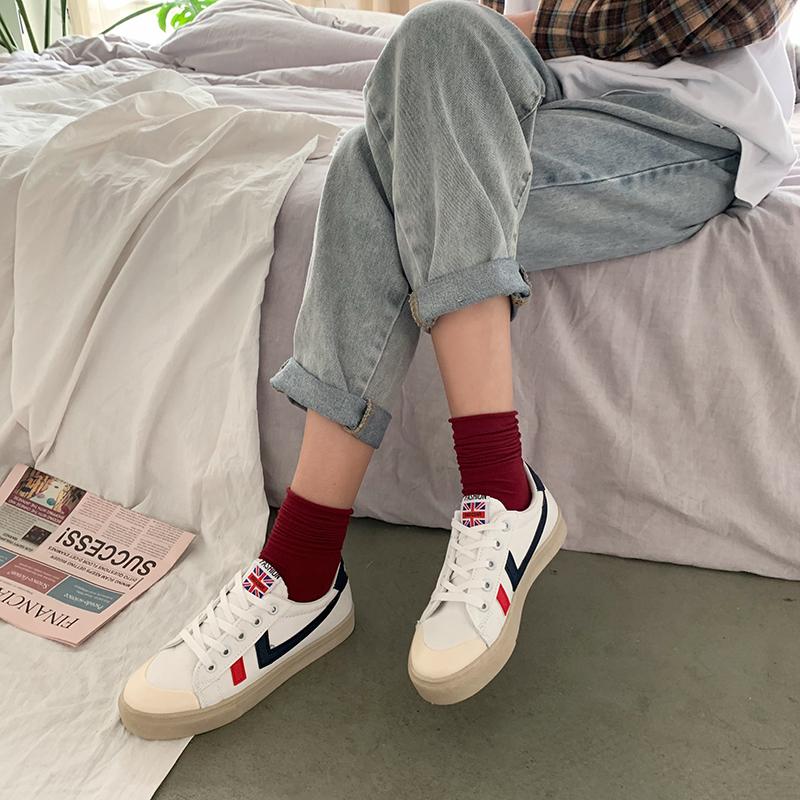 小白鞋子女ins潮鞋2020新款秋冬百搭休闲运动平底帆布板鞋女学生图片