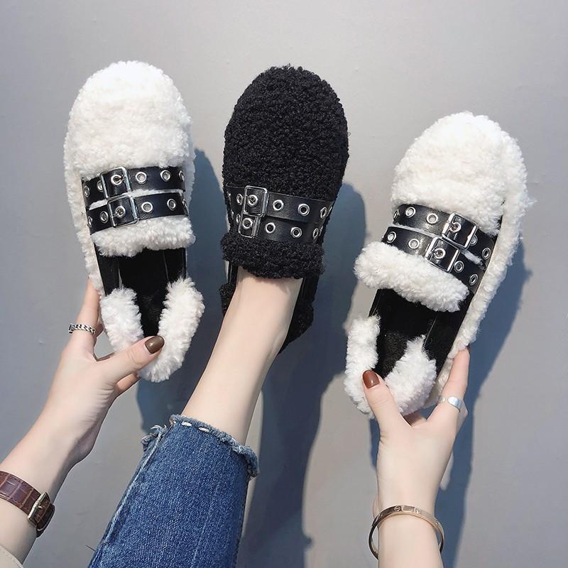 网红毛毛鞋女2018韩版新款丑鞋冬季百搭保暖棉鞋加绒一脚蹬豆豆鞋