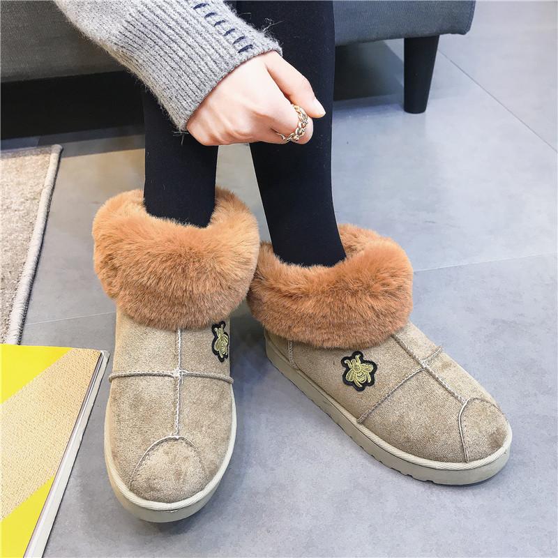 界贝秋2017新款雪地靴女平底韩版百搭短筒加绒保暖棉靴学生棉鞋