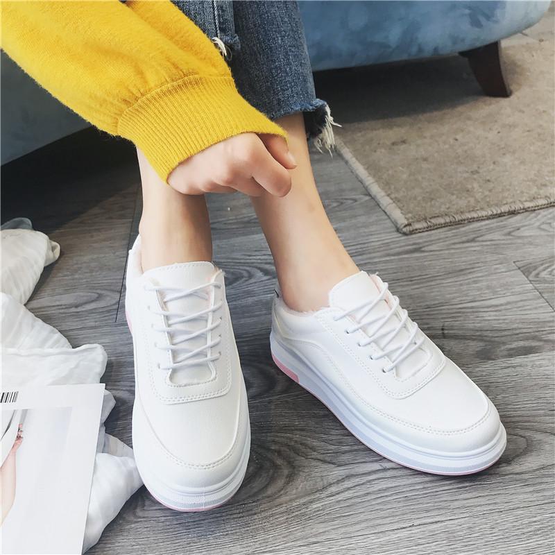 界贝冬季百搭小白鞋女松糕厚底增高棉鞋女新款学生韩版百搭白板鞋