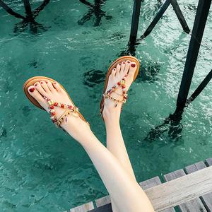 凉鞋女夏2019新款百搭仙女风平底海边波西米亚人字民族风夹脚沙滩