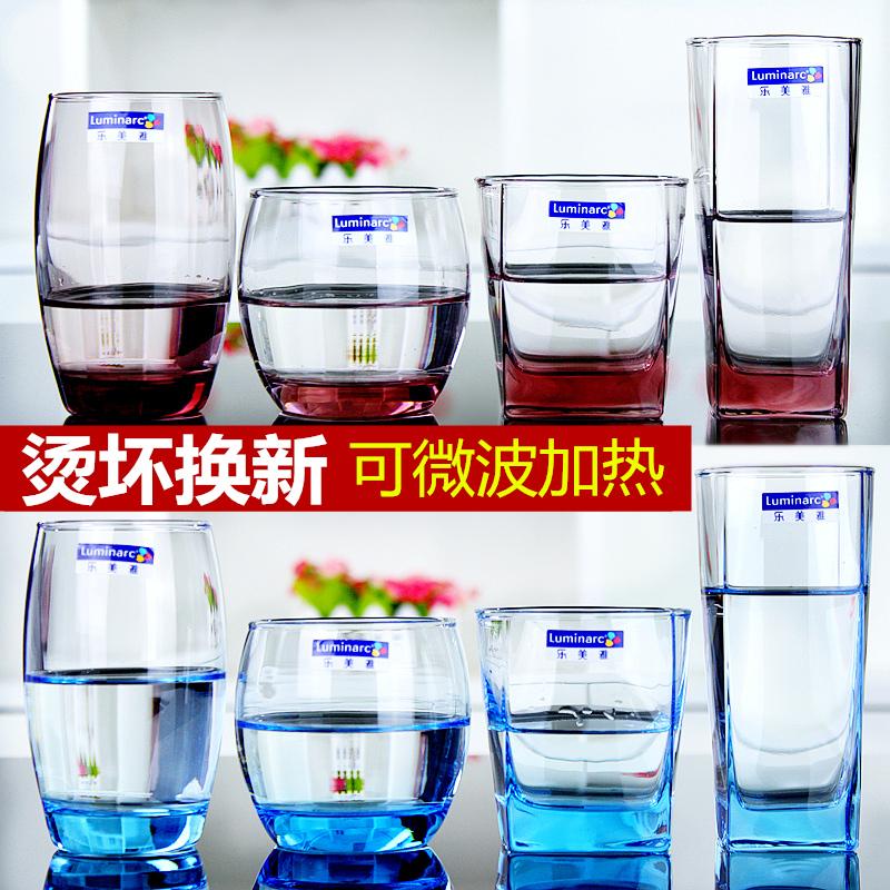 乐美雅玻璃杯家用水杯男女创意泡茶杯牛奶杯简约清新喝水杯子套装图片