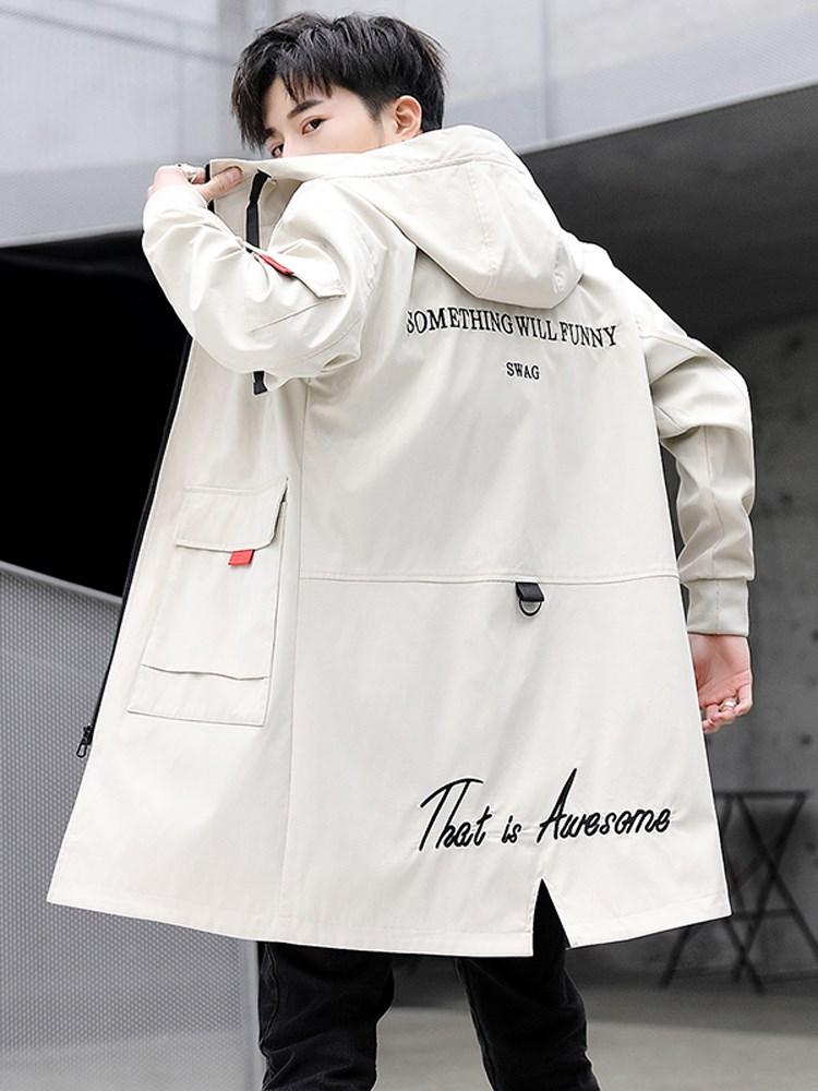风衣男韩版中长款帅气潮流春秋季男装2019新款中学生披风男士外套