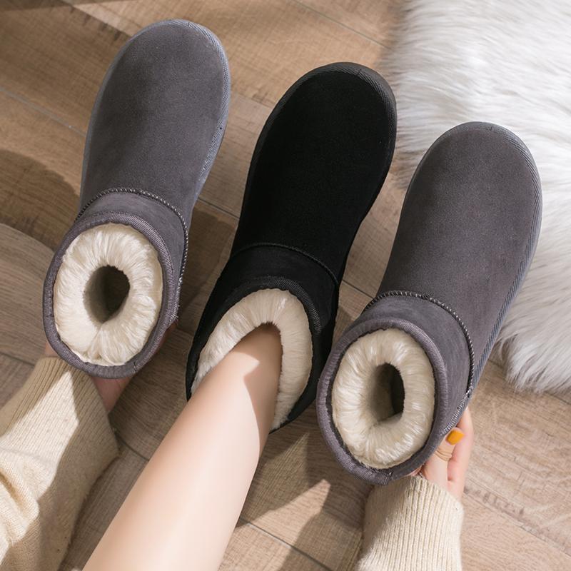 雪地靴女短筒2021新款冬季雪地棉鞋加绒加厚面包鞋防滑保暖女靴子