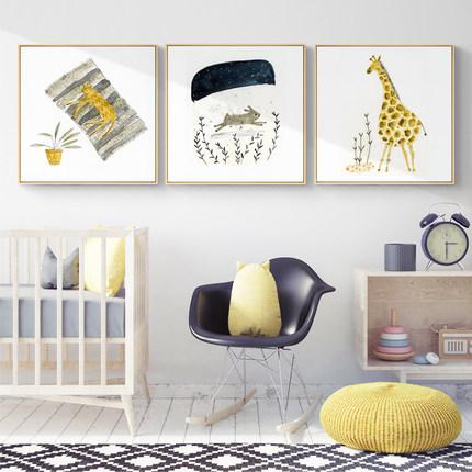 源生态 北欧客厅装饰画沙发背景墙画儿童房挂画原木框动物花鸟鹿