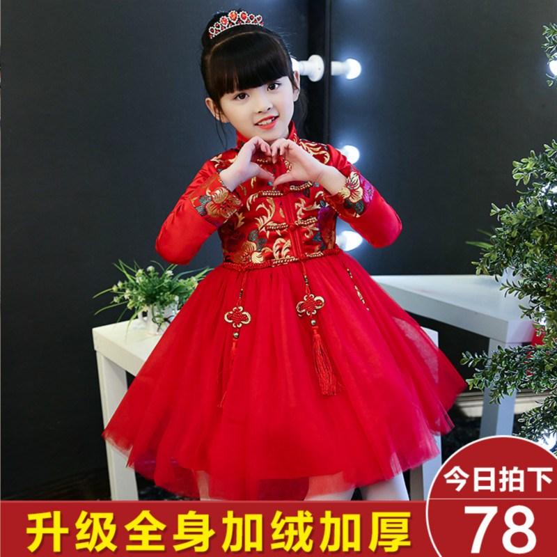 旗袍冬款加厚棉女童中国2-5岁宝宝唐装生日礼服新年装连衣裙4