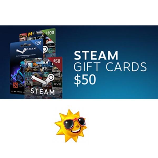 正版美国steam钱包充值点卡50美元 steam wallet gift ca热销2件正品保证