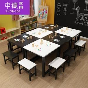 课桌椅桌辅导班绘画中学学生课中小学生补习班大型美术桌教室组合