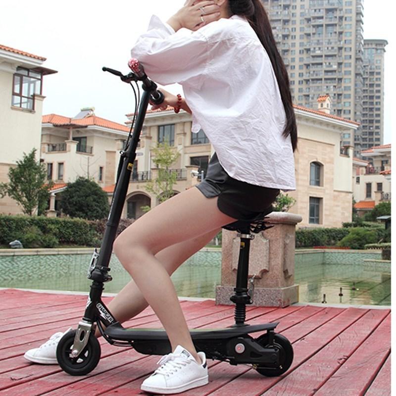 电动滑板车地铁侠超轻迷你可折叠两轮电动自行车座椅代步车便携(用1元券)