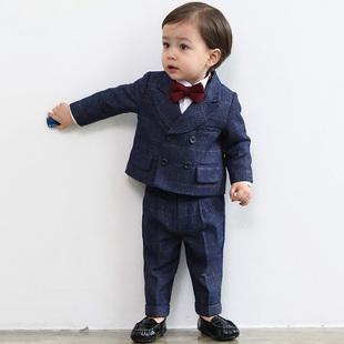 儿童西装 帅气英伦小童小西装 花童男童礼服套装 周岁生日男宝宝韩版