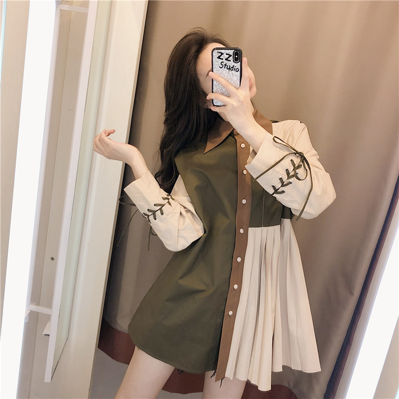 拼色长袖衬衫女设计感小众2020年流行女装新款复古港味春季上衣女