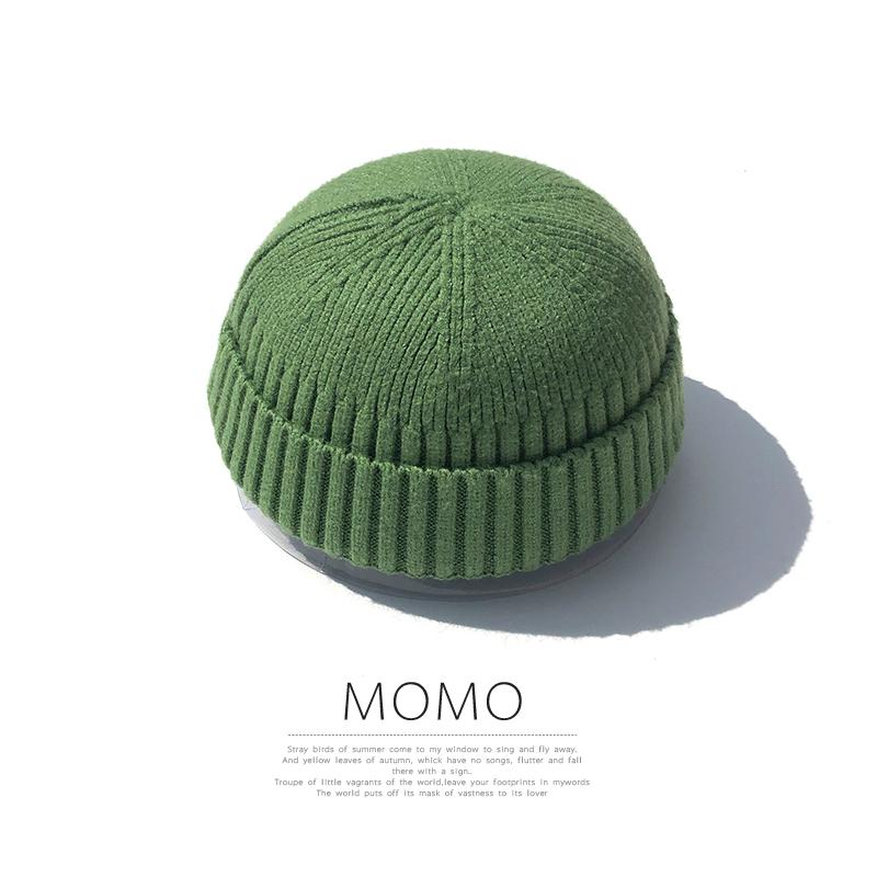 帽子男秋冬瓜皮帽韩国ins草绿色针织毛线帽女雅痞地主帽潮西瓜帽图片