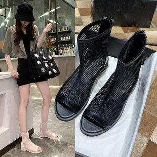 马丁靴女夏季薄款2020新款夏款女靴镂空靴子网面网靴夏天透气短靴品牌