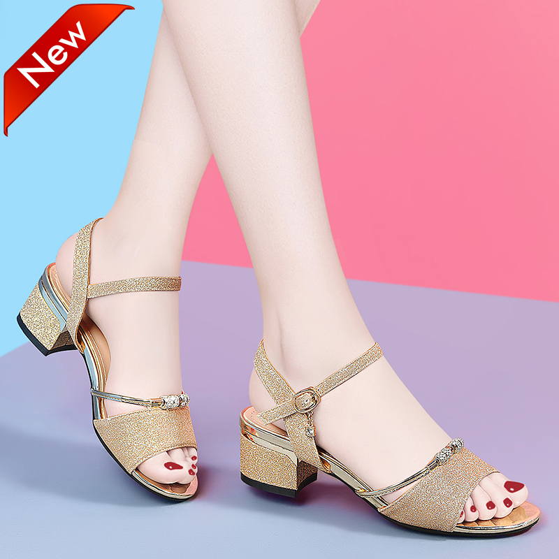 Womens sandals, womens 2020 new summer fashion, Chinese and Korean version, comfortable, versatile, thick heel, one button mothers shoes