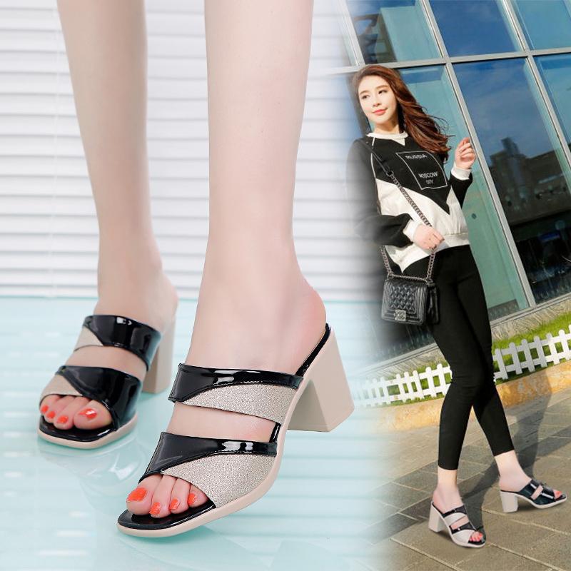 2021年新款女韩版粗跟中跟夏凉拖鞋