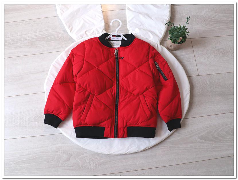 小小的童年衣橱za原厂出货秋冬款男女童红色夹克薄棉服r