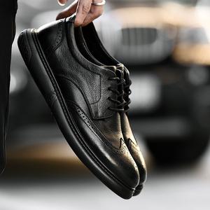 布洛克雕花大碼皮鞋男秋季45青年真皮46潮男士休閑鞋47黑色男鞋子