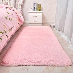 粉色少女心长毛绒地毯卧室床边毯房间满铺地毯可爱公主长方形定制
