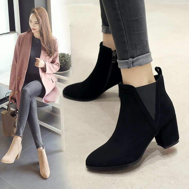 粗跟短靴女靴女2018冬季新款女鞋欧洲站高跟靴棉靴马丁靴女英伦风