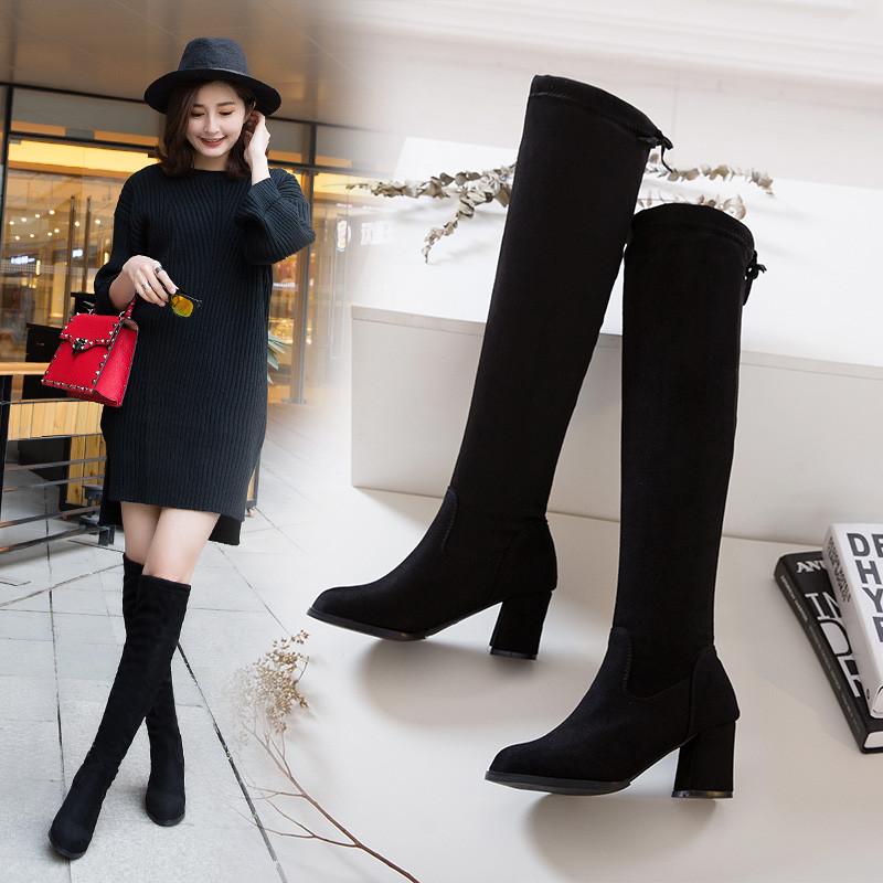 过膝长靴女靴高跟靴粗跟尖头2018秋冬季新款sw5050弹力过膝靴棉靴
