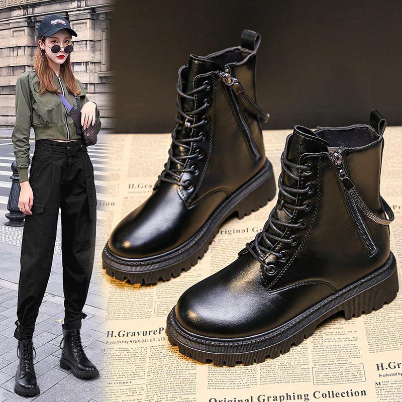真皮马丁靴女2020秋冬季新款英伦风时尚百搭短靴瘦瘦女靴子骑士靴