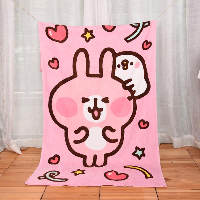 カラハラ純綿可愛いキャラクターバスタオル韓国版ピンク少女心ビーチタオル風呂タオル