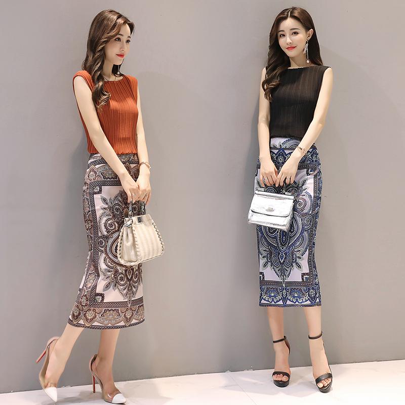 代购夏季中长新款女复古气质印花包臀包裙半身裙子一步裙两件套装