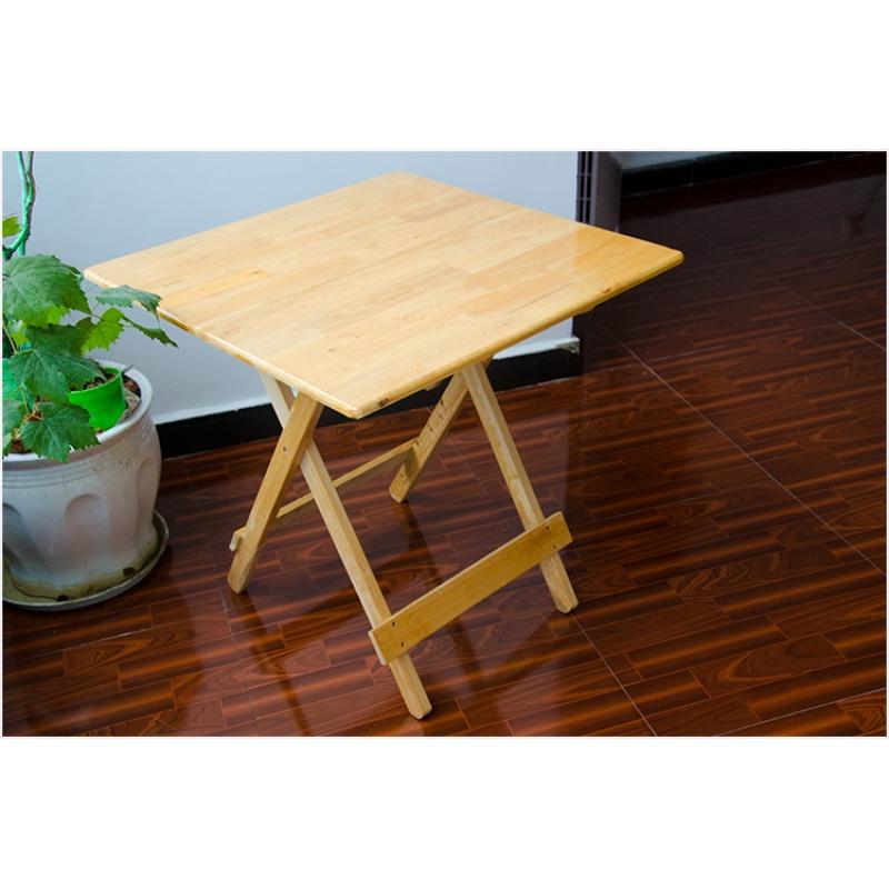 。全实木可折叠桌子户外柏木小方桌便携简易餐桌儿童饭桌圆桌麻将需要用券
