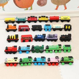 86款木制小火车磁性木头轨道配套小车1-24号益智积木勒酷小车玩具