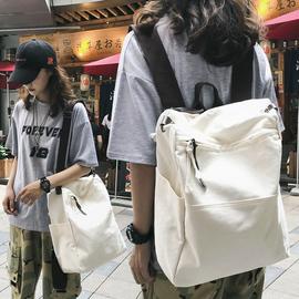 多用双肩包女韩版大学生书包女大容量帆布单肩斜跨包旅行复古背包