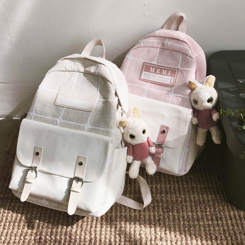 冬上新大容量帆布书包女韩版高中森系可爱初中生双肩女生上课背包