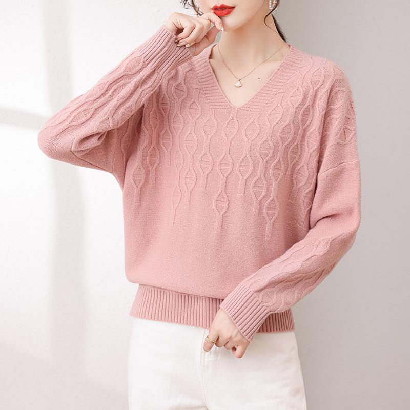 羊毛衫女加厚V领针织衫2021冬季新款鸡心领纯色长袖100纯羊毛毛衣