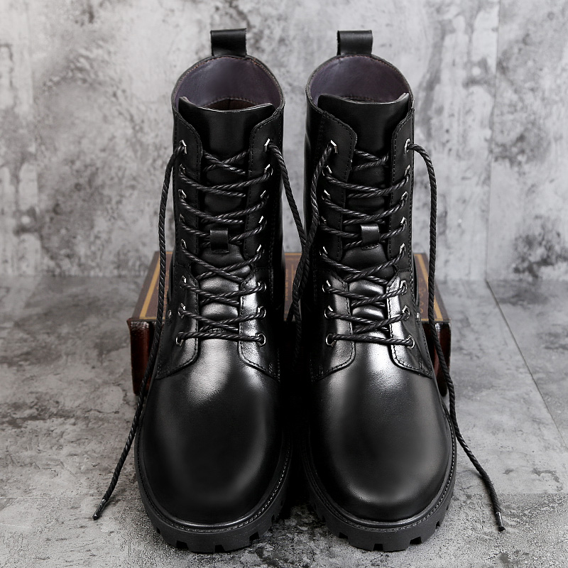 Riding boots, mens high barrel, long barrel, military boots, waterproof combat boots, special soldiers, shock absorption, leather combat boots, high barrel, mens boots, outdoor