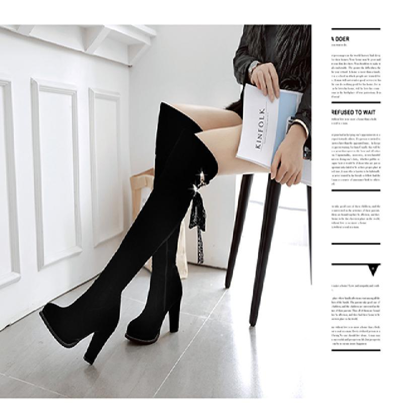 Womens shoes autumn and winter 2017 new fashion Korean versatile fashion European and American high heels small long boots in early autumn