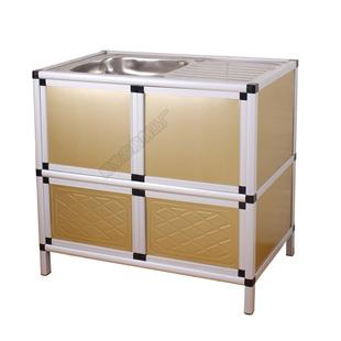 不鏽鋼水槽廚房洗菜盆洗碗盆櫃簡易單槽雙槽帶支架水池組合一體櫃