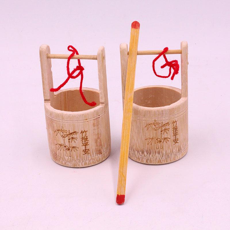 特色手工艺竹编水桶工艺品小水桶表演玩具竹制品幼儿园过家家玩具