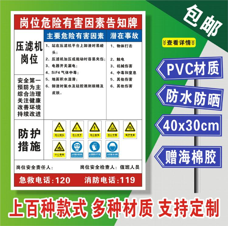 Notice board of safety risk points of filter press post caution warning board of electric shock hazard occupational hazard notice card