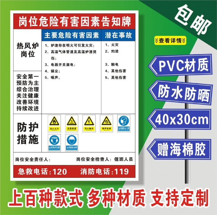 热风炉岗位安全风险点告知牌当心触电危险警示牌职业危害告知卡