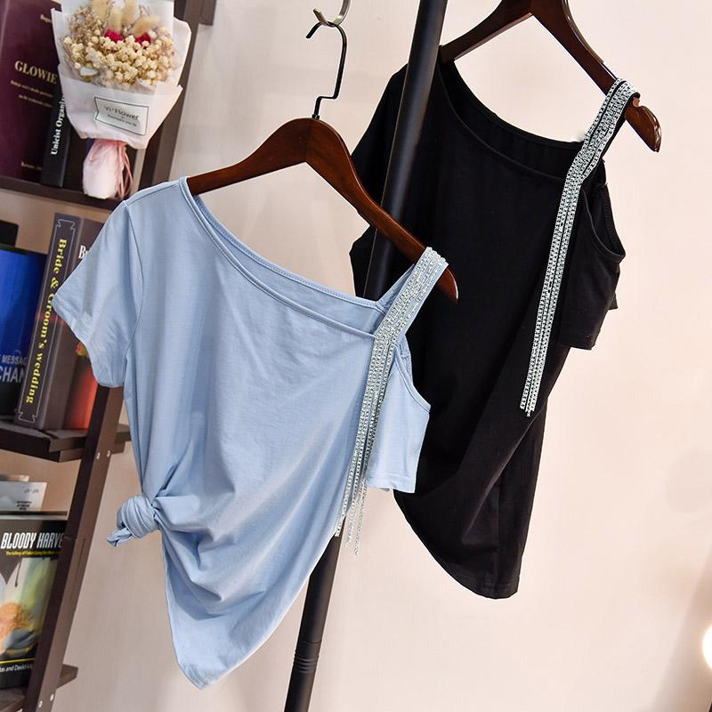 欧洲站2018夏装新款女欧货设计感小心机斜肩流苏链条露肩短袖T恤